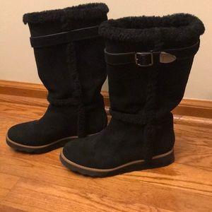 Coach Deeann Black Suede Fur-trimmed Boots